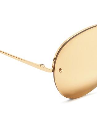 Detail View - Click To Enlarge - Linda Farrow - Half rim metal mirror aviator sunglasses