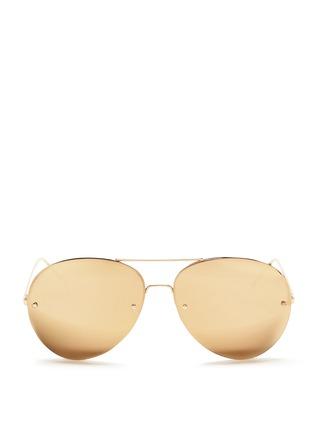 Main View - Click To Enlarge - Linda Farrow - Half rim metal mirror aviator sunglasses