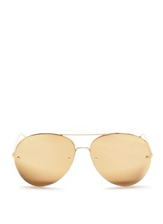Linda Farrow Half rim metal mirror aviator sunglasses