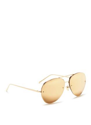 Figure View - Click To Enlarge - Linda Farrow - Half rim metal mirror aviator sunglasses