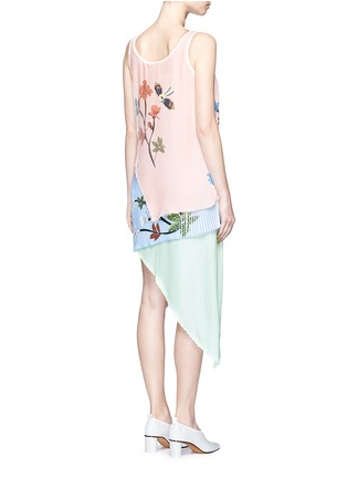 Back View - Click To Enlarge - HELEN LEE - Flying bunny print pleated asymmetric tiered dress