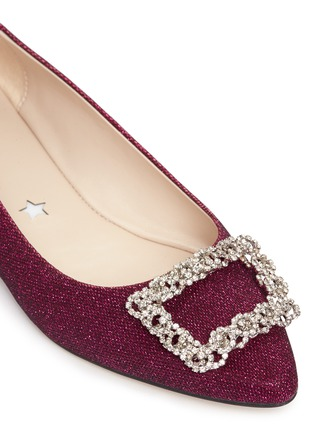 Detail View - Click To Enlarge - Pedder Red - Strass pavé glitter mesh skimmer flats