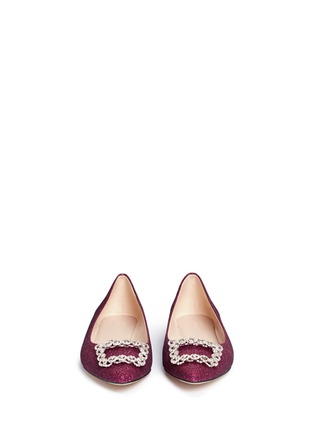 Front View - Click To Enlarge - Pedder Red - Strass pavé glitter mesh skimmer flats