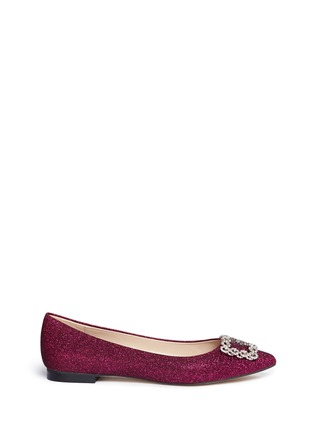 Main View - Click To Enlarge - Pedder Red - Strass pavé glitter mesh skimmer flats