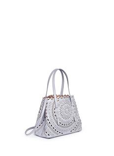 Alaïa'New Vienne Fleur' small flower lasercut leather tote