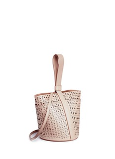Alaïa 'Vienne' small metallic underlay perforated leather bucket bag