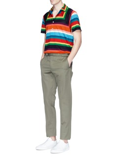 Paul Smith Rainbow stripe mesh and jersey polo shirt