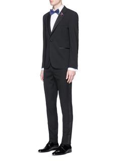 Paul SmithFloral jacquard bib cotton tuxedo shirt