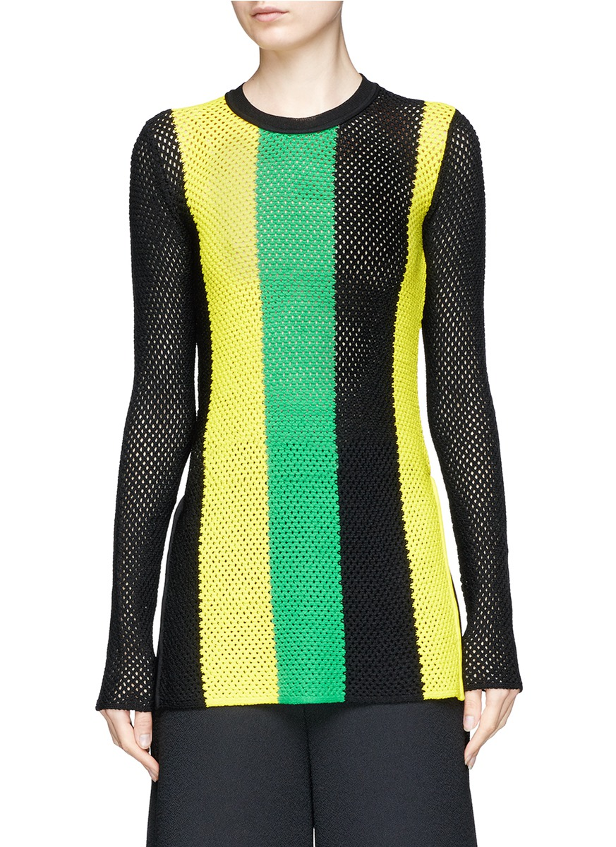 Stripe open mesh knit long sleeve top by Proenza Schouler