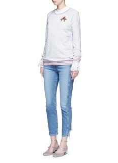 GiambaFlamingo sequin appliqué glitter stripe sweatshirt