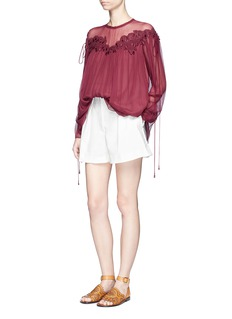 Chloé Cherry guipure lace crushed georgette blouse