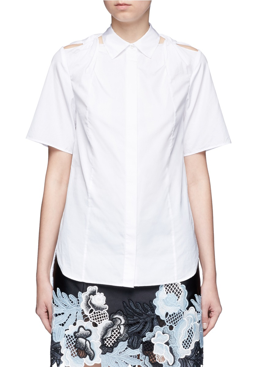 Twist knot cutout shoulder cotton shirt by 3.1 Phillip Lim