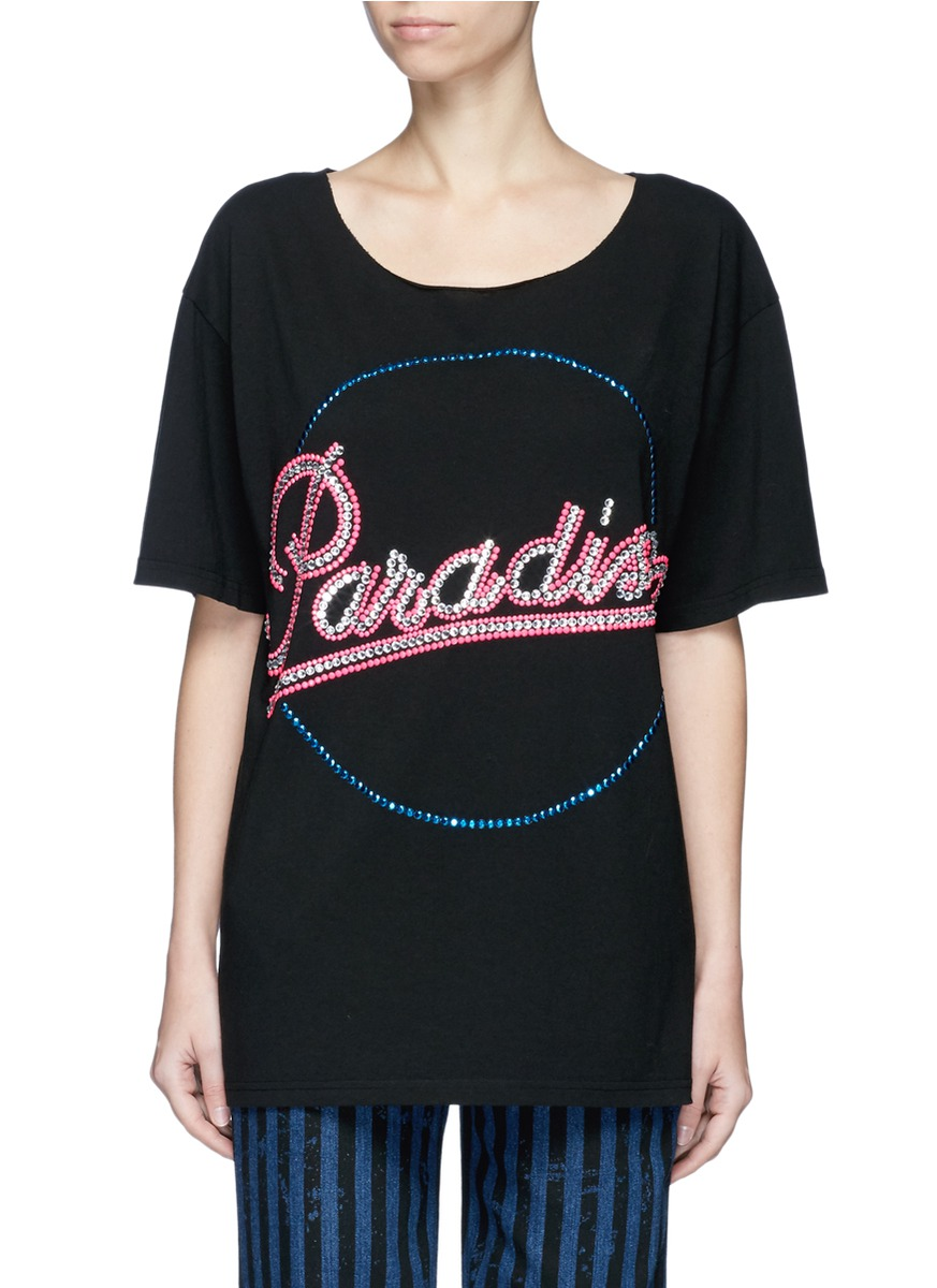marc jacobs female paradise strass embellished tshirt