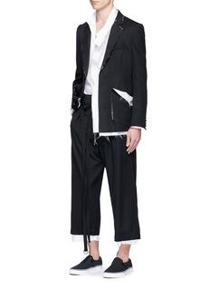 SulvamRaw edge cropped wide leg pants