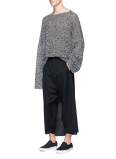 Sulvam Overlay back wool cropped pants