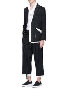 SulvamRaw edge removable collar cotton shirt