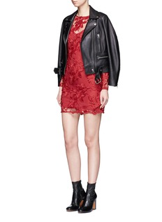 TopshopFloral embroidered appliqué mesh mini dress