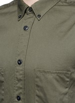 Ribbed cuff cotton twill utility shirt