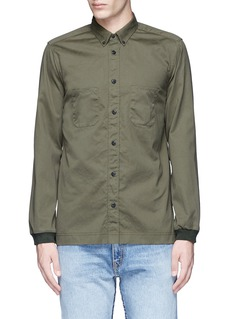 COVERT Ribbed cuff cotton twill utility shirt