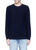Button side virgin wool sweater