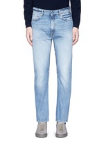 Frayed cotton jeans