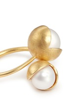 'Fruity' 18k gold plated double pearl ring