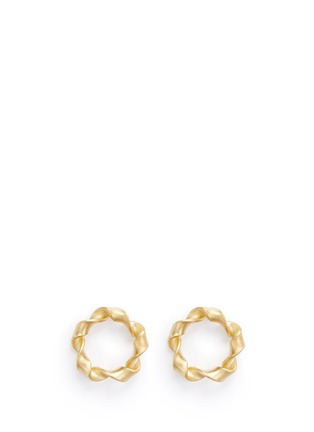Main View - Click To Enlarge - Belinda Chang - 'Ribbon' matte 18k yellow gold hoop earrings