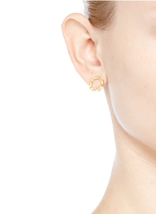 Figure View - Click To Enlarge - Belinda Chang - 'Ribbon' matte 18k yellow gold hoop earrings