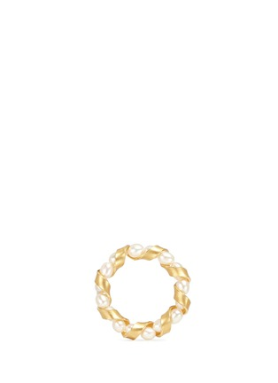 Main View - Click To Enlarge - Belinda Chang - 'Ribbon' 18k gold plated pearl ring