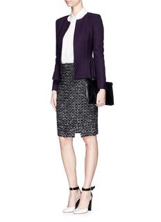 ST. JOHNShirred peplum textured knit zip jacket