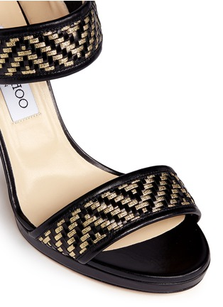 Detail View - Click To Enlarge - Jimmy Choo - 'Alana' Lurex basketweave leather sandals