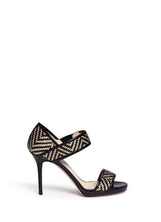 Main View - Click To Enlarge - Jimmy Choo - 'Alana' Lurex basketweave leather sandals