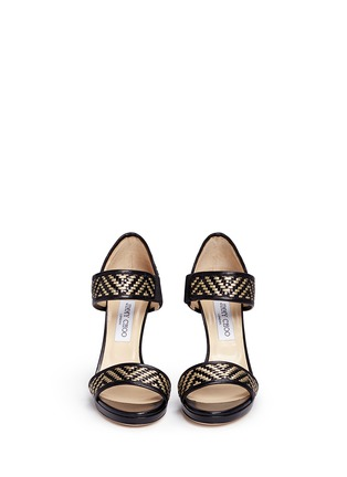 Figure View - Click To Enlarge - Jimmy Choo - 'Alana' Lurex basketweave leather sandals