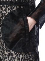 欧根纱豹纹双层羽绒大衣