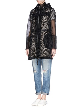 Moncler-Organza overlay hooded down jacket