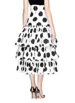 Paint effect polka dot high waist tier skirt