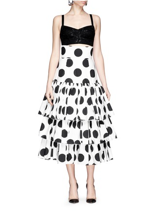 模特儿示范图 - 点击放大 - DOLCE & GABBANA - Paint effect polka dot high waist tier skirt
