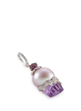 Detail View - Click To Enlarge - Bao Bao Wan - Diamond sapphire pearl amethyst cupcake pendant