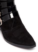 Buckle suede cowboy boots