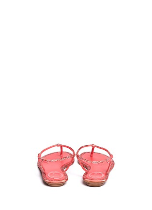 Back View - Click To Enlarge - René Caovilla - Cupido crystal T-strap flat sandals