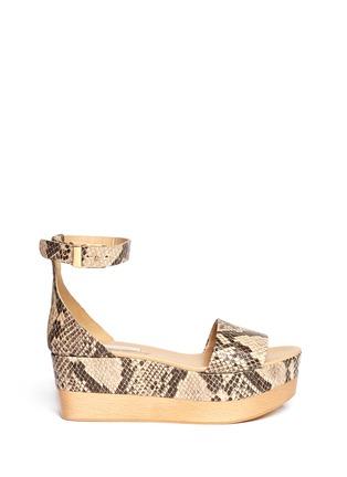Main View - Click To Enlarge - Stella McCartney - Python print flatform sandals