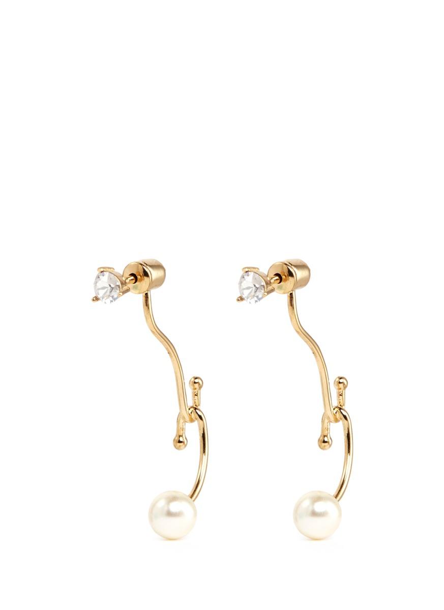 Monroe Swarovski crystal pearl jacket earrings by Chloé