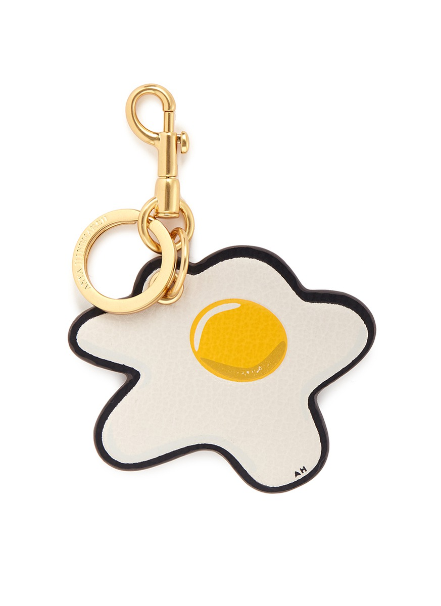 Egg embossed leather keyring by Anya Hindmarch
