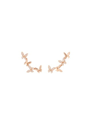 Main View - Click To Enlarge - Anyallerie - 'Small Butterfly' diamond 18k rose gold climber earrings