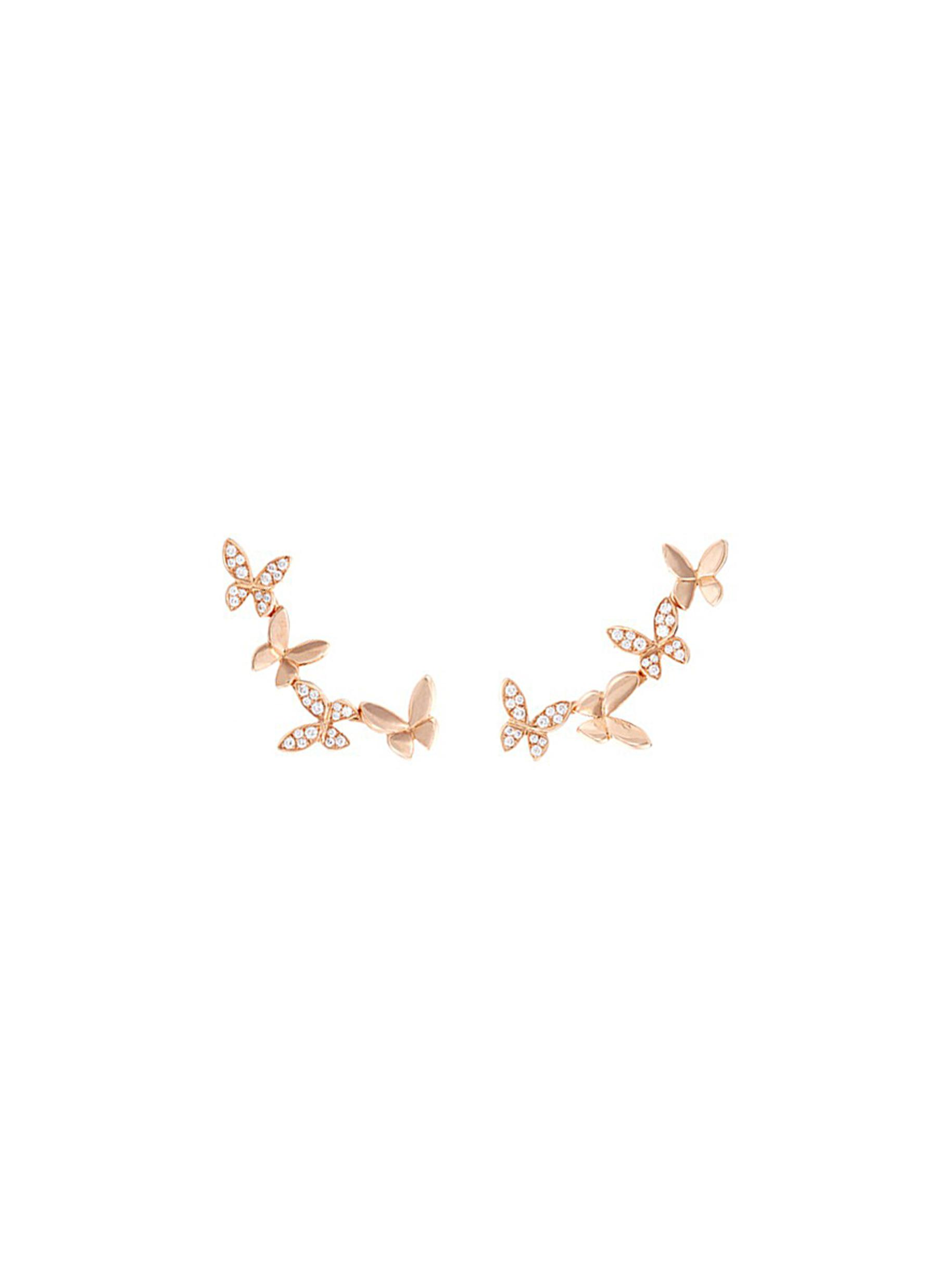 Small Butterfly diamond 18k rose gold climber earrings by Anyallerie