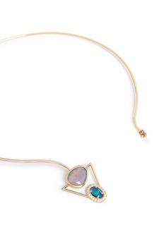 Xiao Wang'Galaxy' diamond opal stone 14k gold torque necklace
