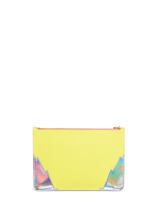 Detail View - Click To Enlarge - Sophie Hulme - Talbot' glitter heart saddle leather pouch