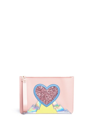 Main View - Click To Enlarge - Sophie Hulme - Talbot' glitter heart saddle leather pouch