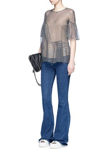 Stella McCartney'Santi' star print Lurex ruffle silk top