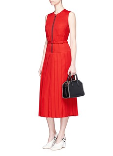 Victoria Beckham Zip front pleated gabardine midi dress